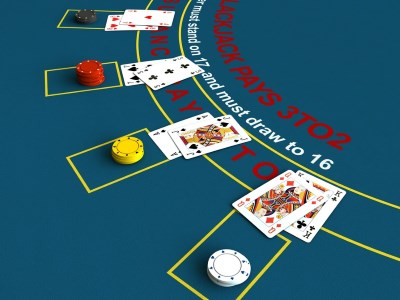 3d render of blackjack table scene
